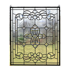 "All clear stained glass and beveled window Panel, 24"" x 28"""