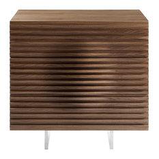 MOON Walnut Veneer With Stainless Steel Tall Dresser/ Nightstand