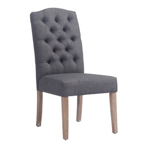 Linen Button Tufted Side Chair, Set of 2, Gray