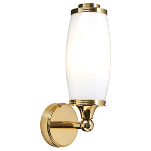 Eliot Single Bathroom Wall Light, Polished Brass