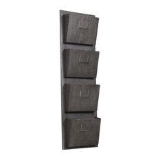Pemberly Row 4-Slot Wall Mounted Mailbox, Rustic Gray