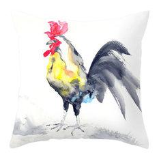 "Decorative Pillow Cover, Rooster Cockrel Bird Art, 14""x20"""