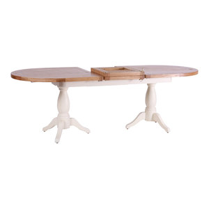 Natural Wood Twin Pedestal Extendable Dining Table, Cream