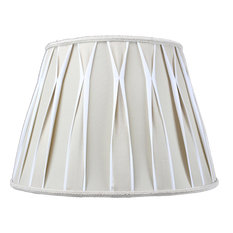 """Moretextile Group - Beige and White With Offwhite Liner Premium Lampshade 10.5""""x16""""x11"""" - Lamp Shades"""
