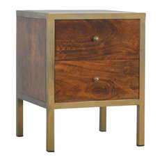 2-Drawer Bedside Table, Brass and Chestnut