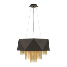 Fredrick Ramond Zuma FR32805SBK Single Tier Chandelier, Satin Black, Bronze