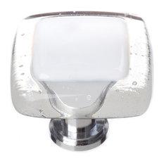 Reflective White Knob, Satin Nickel Base