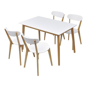 vidaXL 5-Piece Dining Set in MDF and Birch Wood