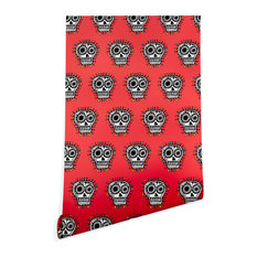 Deny Designs Andi Bird Sugar Skull Fun Red Wallpaper, Red, 2'x10'