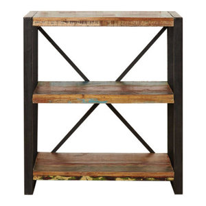 Low Urban Chic Contemporary Reclaimed Wood Bookcase