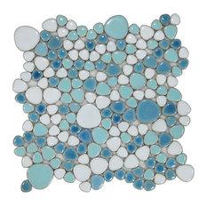 Mosaic Porcelain Tile Mancala Pebble Series Floor Wall Pool Bathroom Shower, Nav