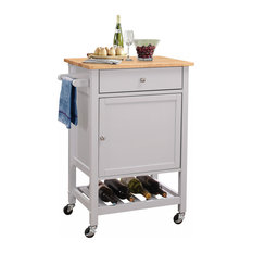 """25""""x17""""x34"""" Natural and Gray Rubber Wood Kitchen Cart"""