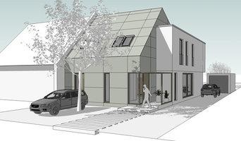 Neubau Doppelhaushälfte K - Straßenfassade