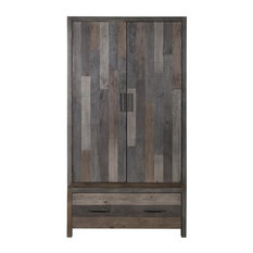 Besp-Oak - London Reclaimed Pine 2-Door Wardrobe - Wardrobes and Armoires