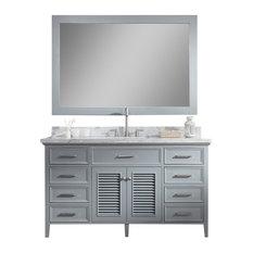 """Ariel Kensington 61"""" Single Sink Bathroom Vanity Set, Grey"""