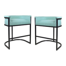 GDF Studio Best Wide Bucket Upholstered Barstool, Light Blue/Black, Set of 2