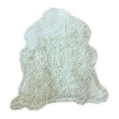 The Hollister Shaggy Faux Fur Sheepskin Rug, Taupe Beige, 5'x6'