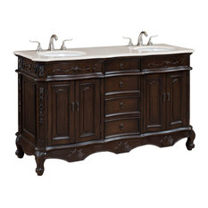 Ica Furniture   60 Inch Double Bath Vanity With Cream Marble Top   Bathroom  Vanities And