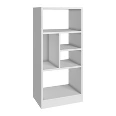 Manhattan Comfort - Valenca Bookcase 2.0 with 5 Shelves, White - Bookcases