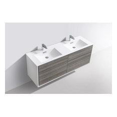 DeLusso 60-inch Double Sink Wall Mount Modern Bathroom Vanity Ash Gray