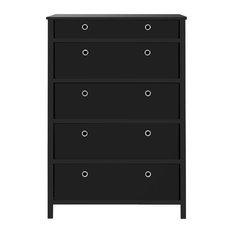 Foldable Furniture 5-Drawer Tall Dresser 45-inchx31-inchx19-inch Black