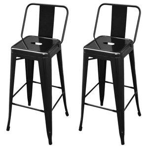 VidaXL Bar Chairs/High Chairs/Stools Square, Set of 2, Black