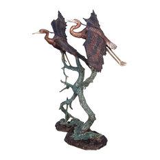 "Pair of Herons Taking Flight Fountain, 62"" Design"