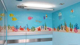 Decoración paredes quirófano infantil Hospital Pamplona