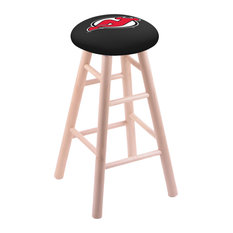 Maple Counter Stool Natural Finish With New Jersey Devils Seat 24-inch