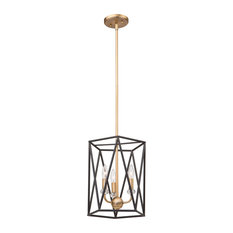 Harmony 3-Light Chandelier, Black and Satin Brass