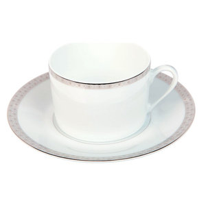 White Porcelain Set of 6 Tea Cups and Saucers