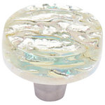Windborne Studios - Pearl Circle Knob, Champagne - The Pearl Collection is infused with beautiful layers of glass that illuminate radiant iridescent colors. The Champagne circle knob is a clear glass with a  slight yellow tint.