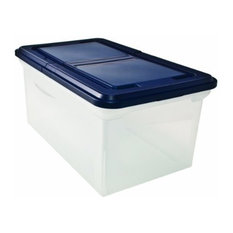 File Tote with Hinged Lid, Letter, Plastic, Clear/Navy