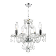 Modern 4-Light Crystal Small Mini Chandelier, Chrome Finish, Clear