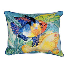 Betsy Drake Fish Indoor/Outdoor Pillow