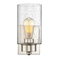 Transitional 1-Light Wall Sconce, Polished Nickel
