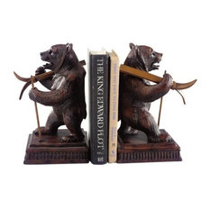 MOUNTAIN Bookends Bookend Rustic Skiing Bear Resin Hand-Cast