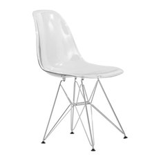 Leisuremod Cresco Molded Eiffel Base Dining Chair, Clear