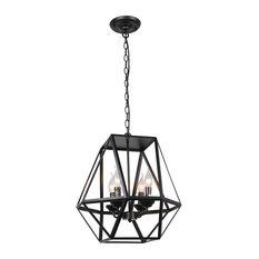 Lantern Candle Chandelier, Industrial Rustic Metal Black Painted Pendant Fixture