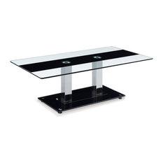Global Furniture USA   Global Furniture Coffee Table, Clear Glass With Black  Stripe   Coffee