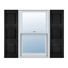 Builders Edge, Custom, Three Equal Panel, Raised Panel Shutters, Black