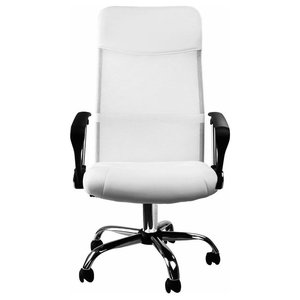 Modern Executive Chair Upholstered, Black Faux Leather and Fabric, White