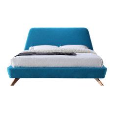 Henry Mid-Century Modern Upholstered Platform Bed, Blue, Queen