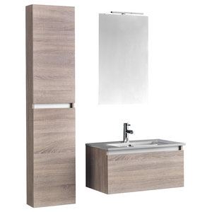 Ibiza 5-Piece Bathroom Vanity Unit Set, Light Tobacco, White and Chrome