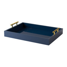 Kate and Laurel Lipton Decorative Tray With Polished Metal Handles, Navy Blue