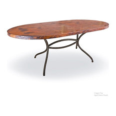 """Italia Oval Dining Table With 44""""x72"""" Soft Oval Copper Top"""