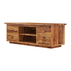 Delaware Rustic Solid Wood TV Media Cabinet With 4 Drawers