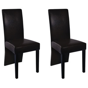 vidaXL Faux Leather Wood Dining Chairs, Brown, Set of 2