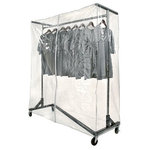 """OnlyHangers - Heavy-Duty Nesting """"Z"""" Rack Vinyl Cover, Clear - These new crystal clear Garment Rack Covers easily slide over the top of either GR600 (Black Base Z Rack) or the GR400 (Orange Base Z Rack). These covers have double sewn seams for strength and come with a heavy weight zipper for easy removal of clothing. The clear vinyl keeps dust and dirt off your garments while allowing full visibility of everything being stored inside. Optional support bars (sold separately) can be used to keep cover neat and square however they are not required."""