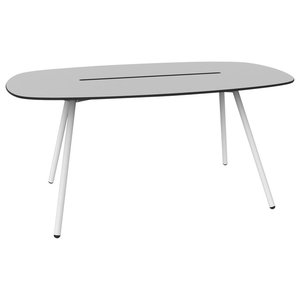 Small A-Lowha Long Board Table, Grey, White Frame
